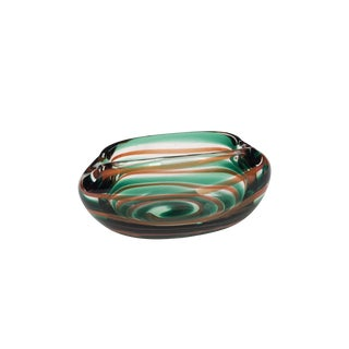 Vintage Blown Glass Green and Orange Ashtray by Floris Meydam for Leerdam For Sale