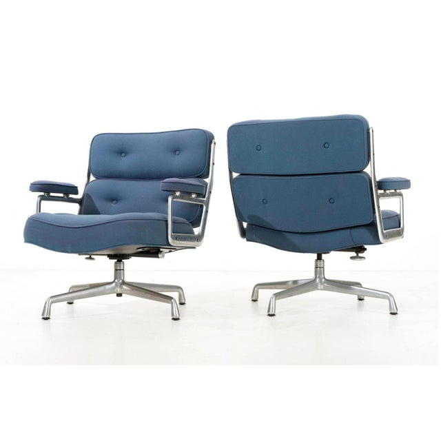 Pair of Time Life swivel lounge chairs. Model ES105. Original boucle fabric. This version are no longer in production....