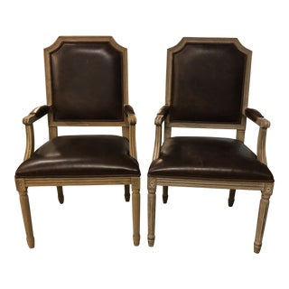 Pair of Restoration Hardware Vintage French Sculpted Back Leather Armchairs For Sale