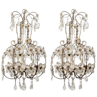 1960s Italian Crystal Floral Chandeliers - a Pair For Sale