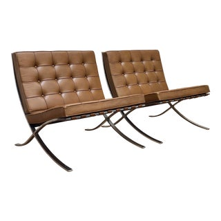 Pair of Camel Leather Barcelona Chairs by Mies Van Der Rohe for Knoll For Sale