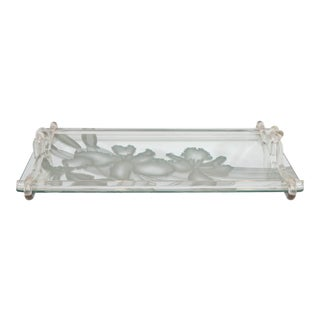 Dorothy Thorpe Etched Mirrored Glass Tray with Lucite Handles For Sale