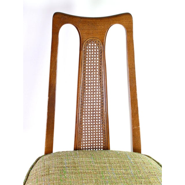 Green Baker Walnut Mid Century Modern Cane Backed Dining Chairs - Set of 6 For Sale - Image 8 of 12