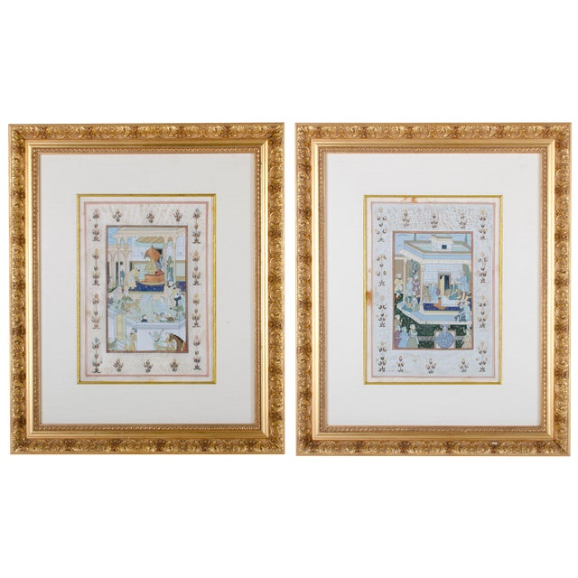 Mughal School Painting on Silk - A Pair For Sale