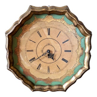 Vintage Florentine Green Gold Wall Clock For Sale