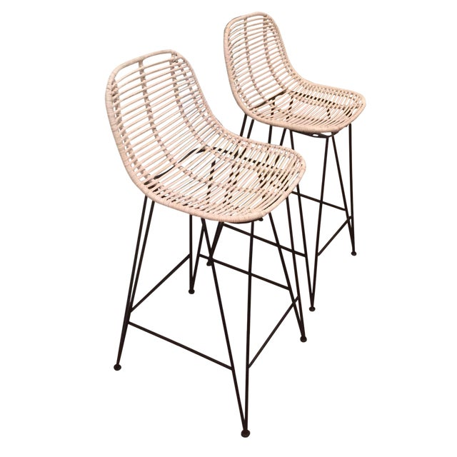 Rattan & Iron Barstools - A Pair - Image 1 of 6