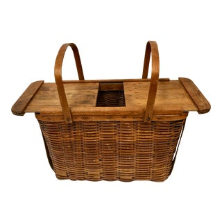 Rare Vintage Sliding Top Picnic Basket For Sale