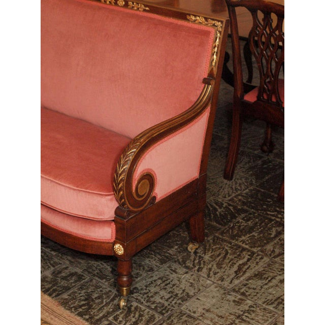 Empire Antique French mahogany Empire style settee For Sale - Image 3 of 8