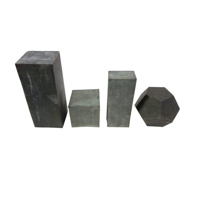 1920s Zinc Geometric Forms - Set of Four For Sale - Image 4 of 10
