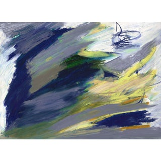 """Expressive Abstract Horizontal Painting in Navy and Earth Tones - Unframed 55"""" X 40"""" Print For Sale"""
