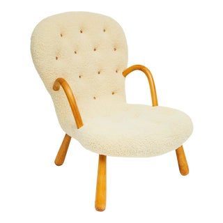 Scandinavian Philip Arctander Shearling Covered Cream Clam Armchair