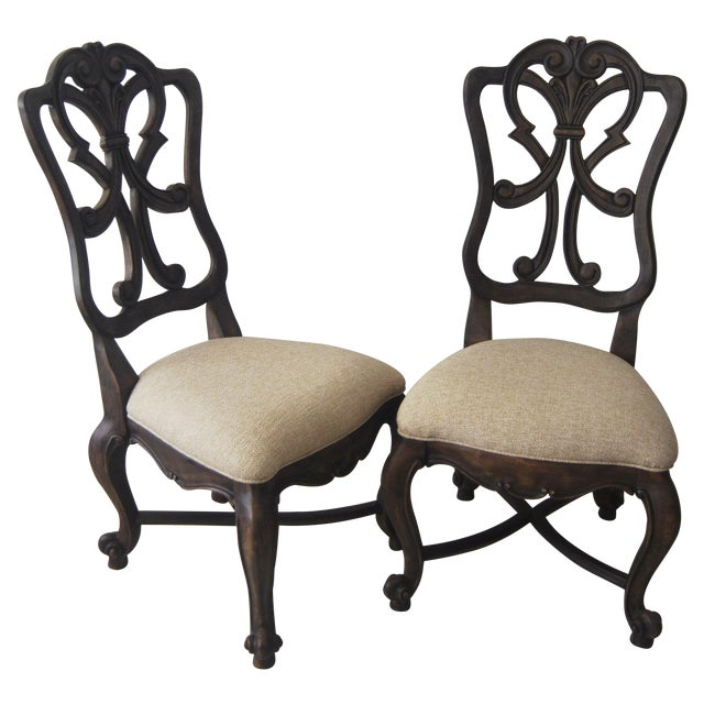 A Pair of French Style Wood Back Side Chairs - Image 1 of 11