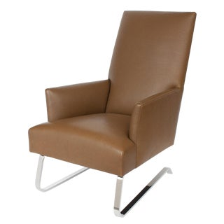 Donghia High Back Leather Odeon Lounge Chair For Sale