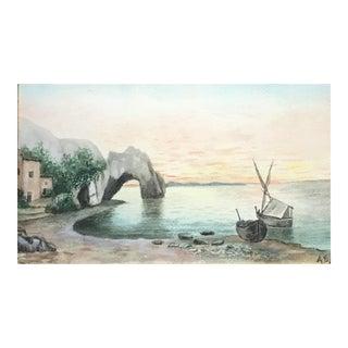 Marine Landscape Watercolor Painting