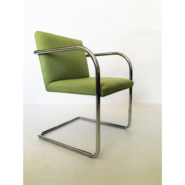Mid-Century Modern Pair of Brno Chairs in Green For Sale - Image 3 of 9