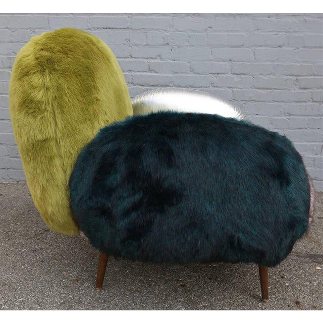 Contemporary Faux Fur and Leather Lounge Chair For Sale - Image 3 of 9