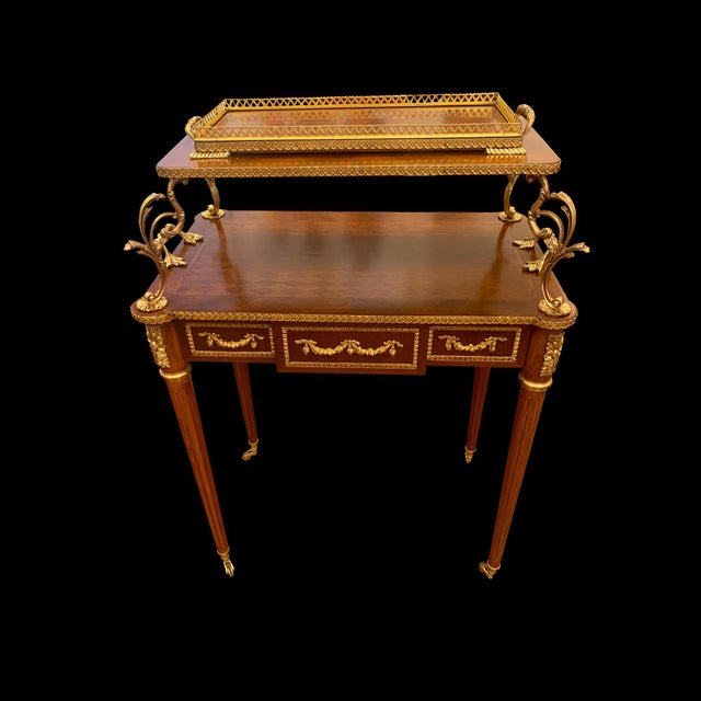 French Provincial French Louis XVI Rolling Serving Table For Sale - Image 3 of 5