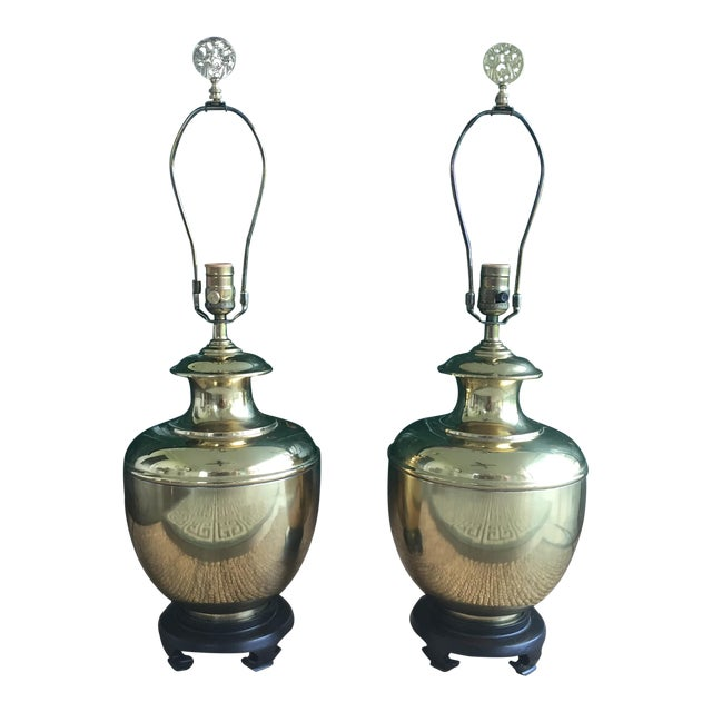 Vintage Hollywood Regency Chinoiserie Brass Ginger Jar Table Lamps A Pair