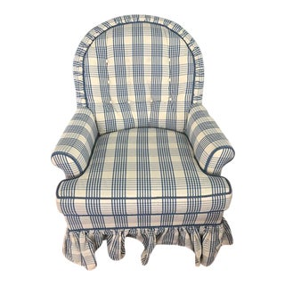 Modern Cox Manufacturing Blue and Cream Upholstered Chair For Sale