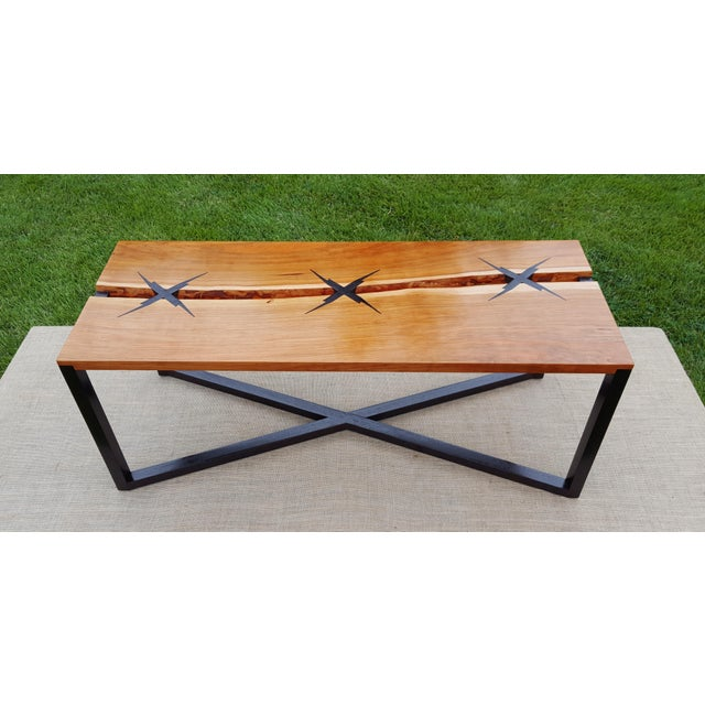 2010s Inlaid Modern Cherry Slab Coffee Table For Sale - Image 5 of 5