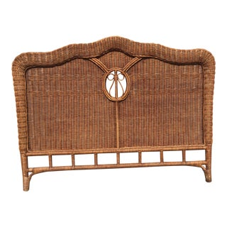 Vintage Boho Chic Queen Wicker Headboard For Sale