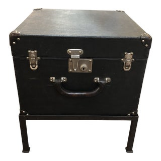 1935 Unusual Black Louis Vuitton Hat Box With Chrome Hardware on Iron Base For Sale