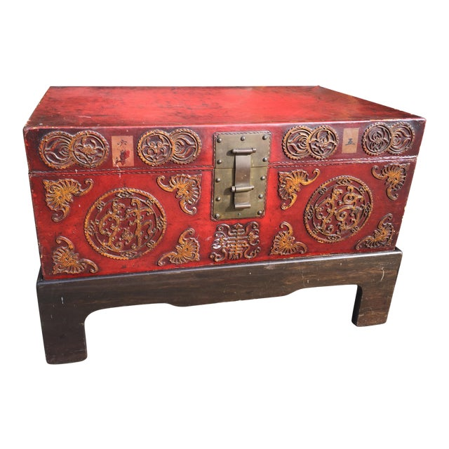 Antique Chinese Pig Skin Trunk On Stand For Sale