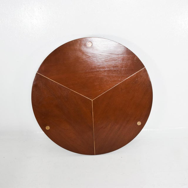 Mid-Century Modern 1960s Mahogany Brass Bamboo Dining Table For Sale - Image 3 of 8