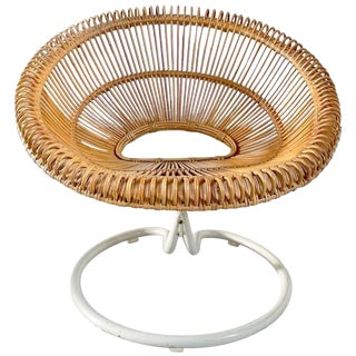 Rare Rattan Lounge Chair on Swivel Base, Attributed Janine Abraham, France