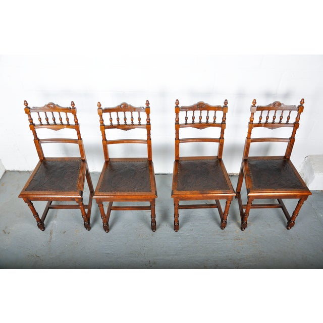 Antique Set of 4 French Henri II Oak Dining Chairs For Sale - Image 4 of 13