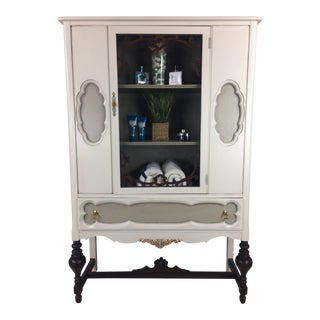 Vintage Jacobean Solid White Wood Cabinet