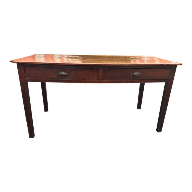 Antique French Farm Table With Drawers For Sale