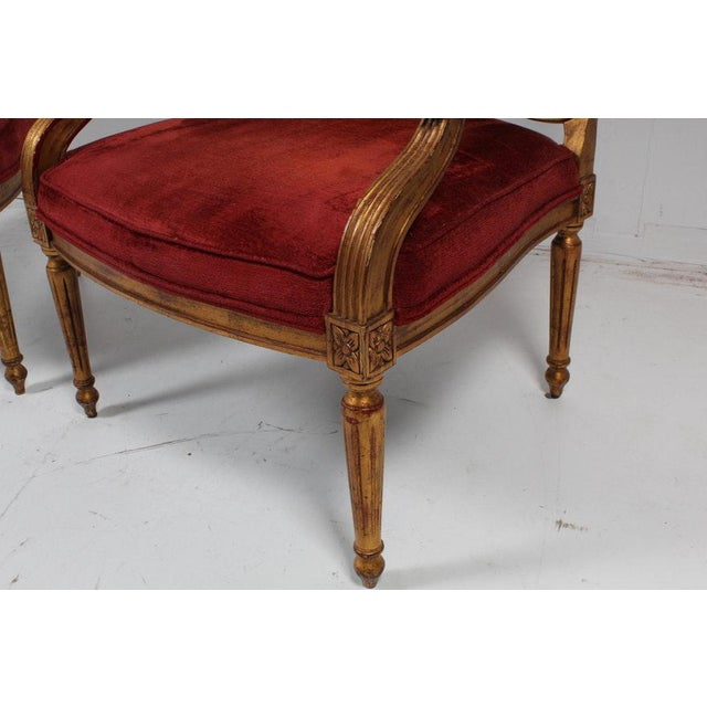 1980s Hollywood Regency Red Velvet Bergere Armchairs Dining Chairs - Set of 4 For Sale - Image 5 of 13