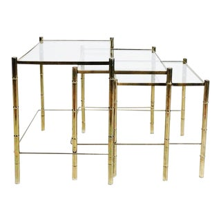 Hollywood Regency Bamboo Brass & Glass Nesting Tables - Set of 3 For Sale