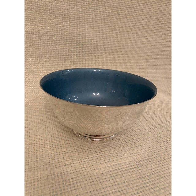English Reed and Barton Enameled Cerulean Revere Bowl For Sale - Image 3 of 8