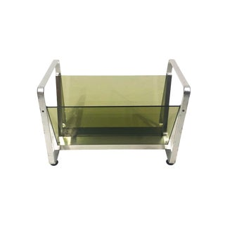 Green Glass and Aluminium Av Handwerk Space Age Magazine Rack For Sale