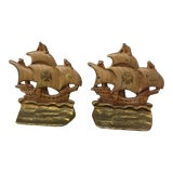 Image of Bookends - Vintage Ship Bookends - a Pair For Sale