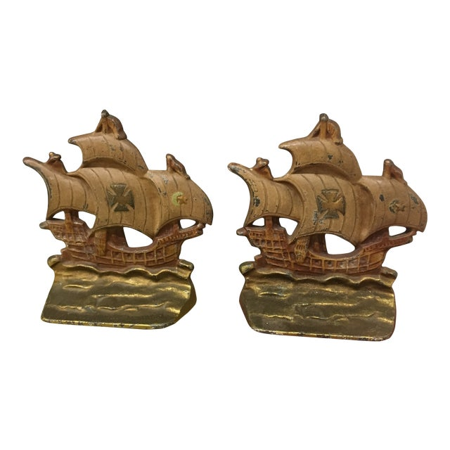 Vintage Ship Bookends - a Pair For Sale