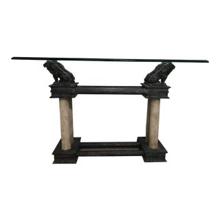 Gothic Revival Barcelona Bronze Lion Console Table For Sale