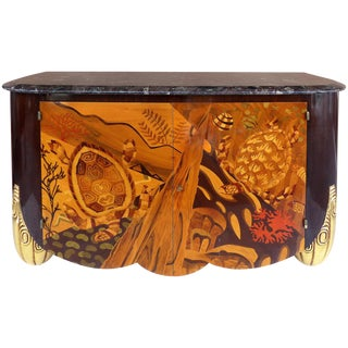 Italian Art Deco Style Marble-Top Cabinet With Marquetry of Sea Turtles For Sale