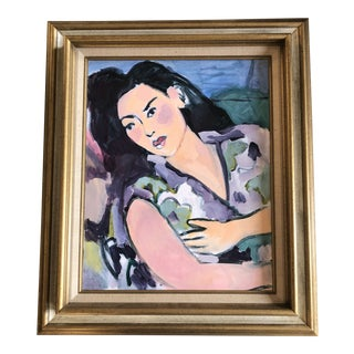 Original Vintage Female Portrait Abstract Expressionist Painting Framed For Sale