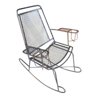 1960s Antique Wrought Iron Wire Children's Rocking Chair For Sale