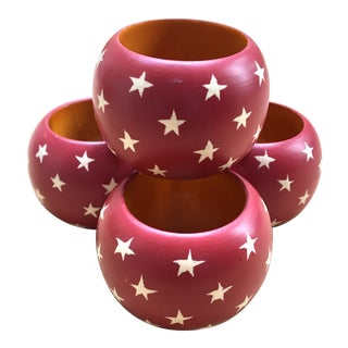 Red Star Patriotic Wood Napkin Rings - Set of 4 For Sale