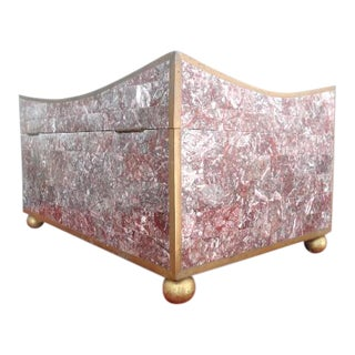 Maitland - Smith Pink Stone Brass Marble Box For Sale
