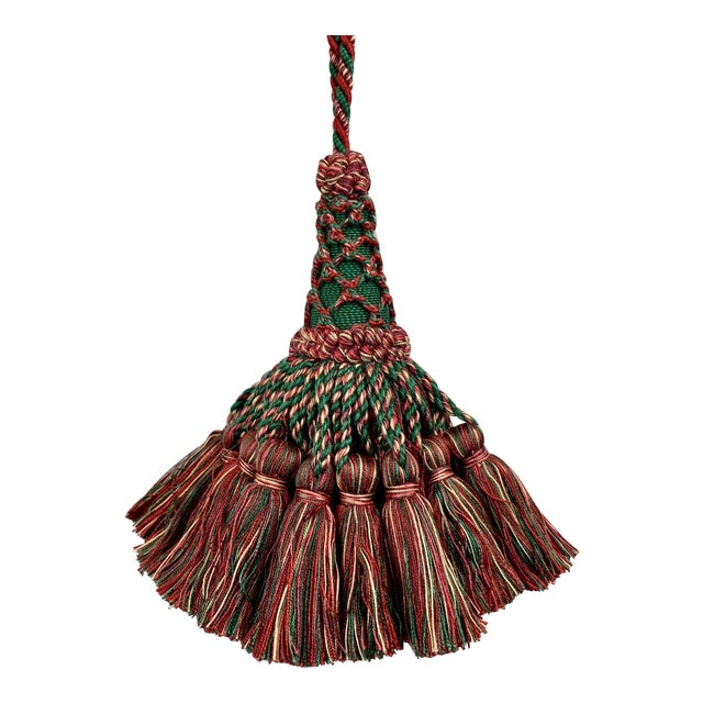 Large Vintage Houlés of Paris Key Tassel in Red and Green For Sale