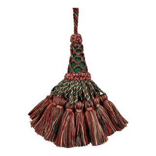Vintage Houlés of Paris Key Tassel in Red and Green For Sale