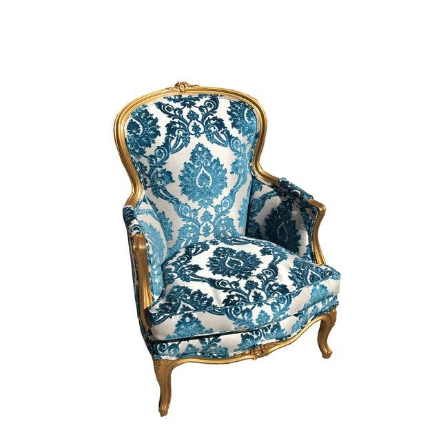 Victorian Gold Leaf & Velvet Chair - Image 1 of 7