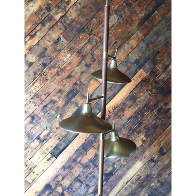 Mid-Century Brass & Wood Tension Pole Lamp - Image 7 of 11