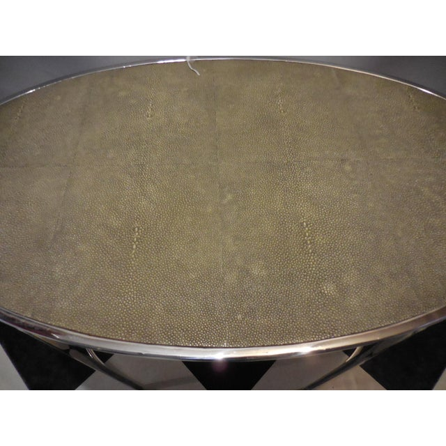 Theodore Alexander Oval Shagreen Top Table For Sale - Image 5 of 6