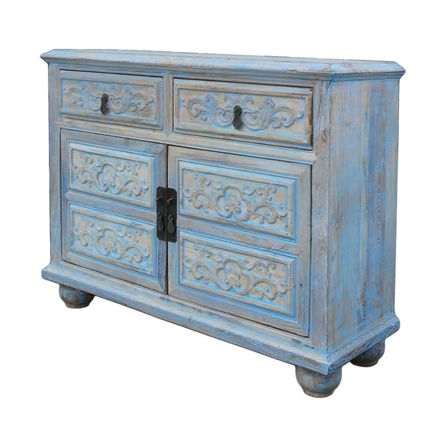 Rustic Shabby Rustic Light Blue High Credenza Cabinet For Sale - Image 3 of 7
